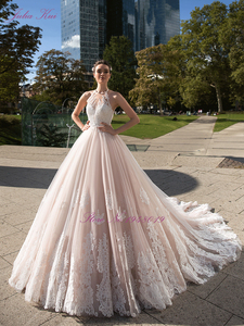Image 4 - Julia Kui Vintage Ball Gown Wedding Dress 2020 Customized Sexy Halter Backless Court Train Princess Wedding Gowns