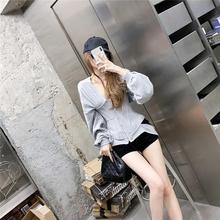 Autumn Zip Hoodie Women Sweatshirt Slim Grey Corset Fashion Workout Gym Sport Jacket Buckle Blouse Pullover blouse 0800500 49