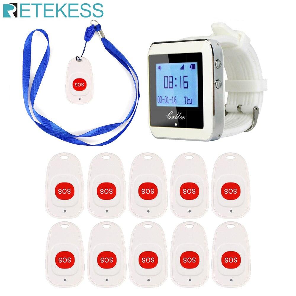 무선 병원 간호사 호출 시스템 1 시계 수신기 + 10 병원 환자 노인 f9465b에 대한 호출 벨 비상 호출 버튼