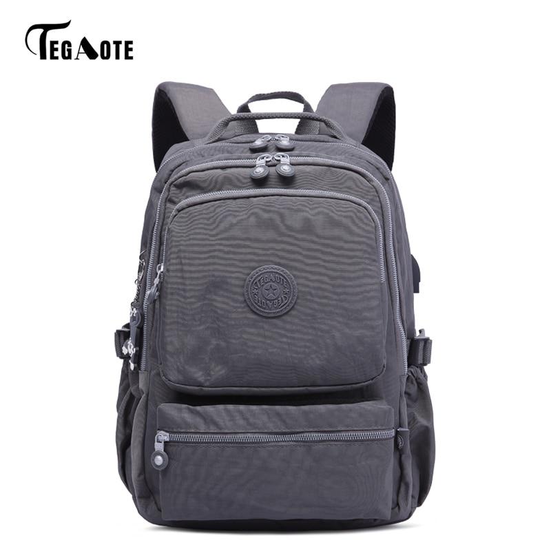 TEGAOTE Anti Theft USB Charge Backpack Women School Bag For Teenages Mochila Feminina Female Laptop Bagpack Travel Back Pack Men