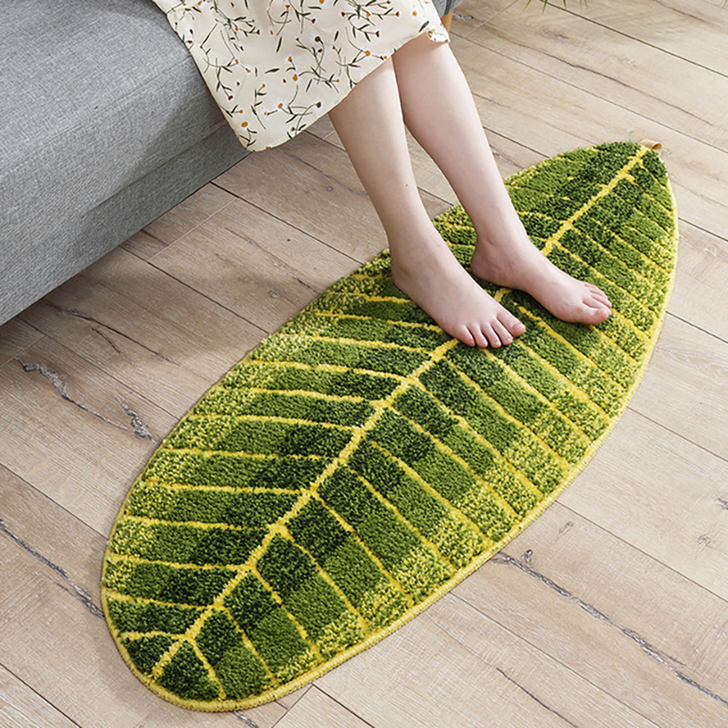 Floor Mat Leaf Shape Kitchen Carpet Entrance Door Mat for The Bedroom Living Room Non-slip Mats Dust-proof Fluffy Rug Carpets image