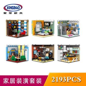 XINGBAO 01401 LepinDS Stadt Serie Wohnzimmer Haus Action Figur Modell Kit Bausteine Ziegel Pädagogisches Spielzeug Für Kinder Geschenk