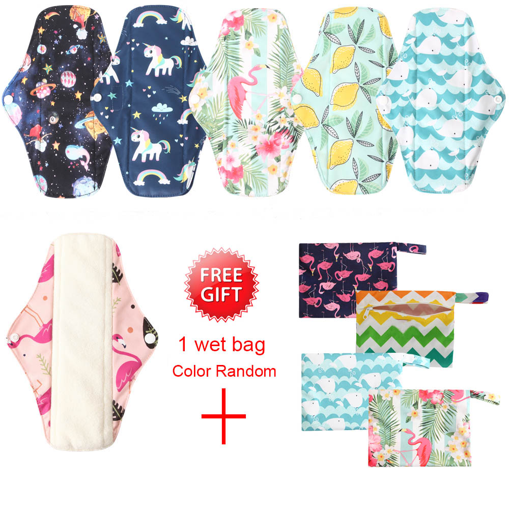 7PCS Reusable Menstrual Pads Set Washable Organic Bamboo Charcoal Mum Cloth Pads Feminine Hygiene Panty Liner Night Use Size M