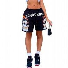 Shorts Sweatpants Drawstring Skull Mid-Waist Print Loose Hip-Hop Punk-Style Street Black