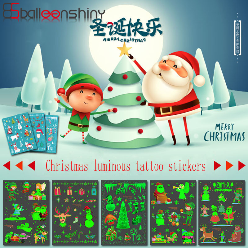 BalleenShiny Christmas Luminous Tattoo Stickers Waterproof Baby Kids Toy Fashion Cartoon Children's Fluorescent Tattoo Stickers