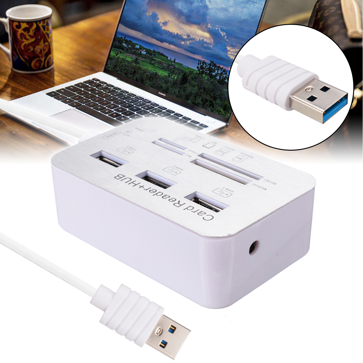 New Aluminum Portable USB 3.0 3 Port Hub With MS SD M2 TF Multi-In-1 Card Reader For All In One PC Computer Accessories
