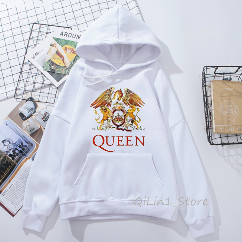 Classic Queen Band Hat Sweatshirt Men Women Rock Freddie Mercury Hoodie Unisex Streetwear Winter Clothes Oversize Tracksuit