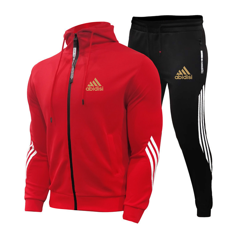 2021Spring And Autumn Brand Fashion Men's Sets Two-piece Striped Sportswear Men's Hooded Top Outdoor Sports Pants Tracksuit Suit 1