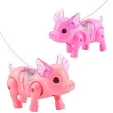 Cute Electric Leash Pig Music Walking Toys With LED Light Electronic Rope Pulling Pets Interactive Toy For Children Gifts