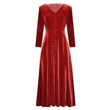 Женская одежда осень зима 2019 однотонное черное/винно красное бархатное платье до середины икры на пуговицах спереди с V образным вырезом и высокой талией