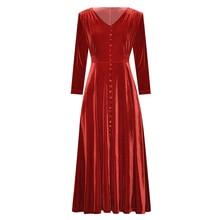 Odzież damska jesienno zimowa jednokolorowa czarna/wino czerwona aksamitna dekolt w serek z przodu zapinana na guziki sukienka z wysokim stanem do łydki