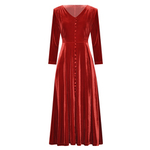 womens clothing autumn winter 2019 solid color black / wine red velvet v neck front buttons mid calf length high waist dress