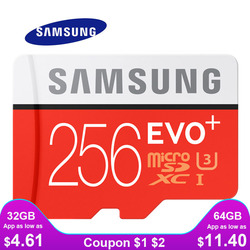 بطاقة ذاكرة سامسونج مايكرو SD 256GB 32GB 64GB 128GB 512G SDHC SDXC الدرجة EVO + الفئة 10 C10 UHS TF بطاقات SD عبر فلاش ميكروسد