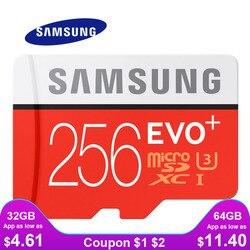 Cartão de memória de samsung micro sd 256 gb 32 gb 64 gb 128 gb 512g sdhc sdxc classe evo + classe 10 c10 uhs tf sd cartões flash trans microsd