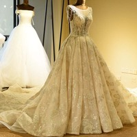 2 Style Luxury Beaded Wedding Dresses Gorgeous Lace Appliques Bride Dress A line Open Back Wedding Gown Real Photos
