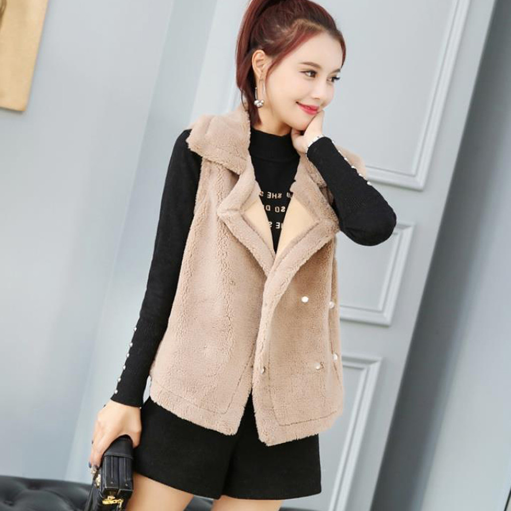 Female Vest Coat Women Winter Casual Lightweight Vest V Outerwear Sleeveless Jackets Turn-Down Collar Cotton-Padded Coats 45