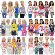 5 шт., модная повседневная одежда, повседневная одежда, жилет, рубашка, юбка, брюки, платье, аксессуары для кукольного домика, Одежда для куклы Барби