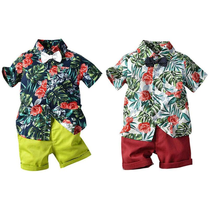 Costume de cérémonie pour petits garçons | Chemise à fleurs + short, ensemble vêtements pour hommes, CANIS