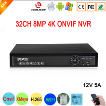 12V 5A Hi3536C H.265+ XMeye Blue Panel 4K 8mp 32CH 32 Channel Audio Face Detect WIFI Onvif NVR