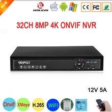 12V 5A Hi3536C H.265 + XMeye mavi Panel 4K 8mp 32CH 32 kanal ses yüz algılama WIFI Onvif NVR