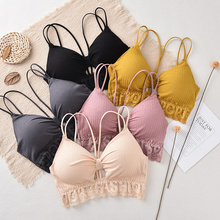 Women Tube Top Bra Cropped Top Lace Underwear Bralette Padded Bra Bow Wrap Top bow embellished lace yoke and cuff top