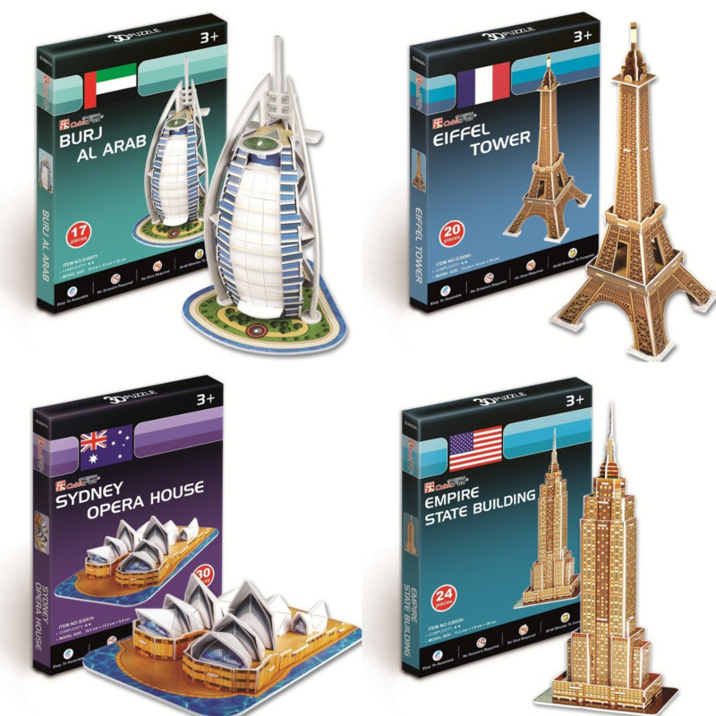3D Paper Puzzle Word Famous Buildings Tower Bridge Jigsaw Assembled Model Craft DIY Educational Toys For Children Adult Gifts