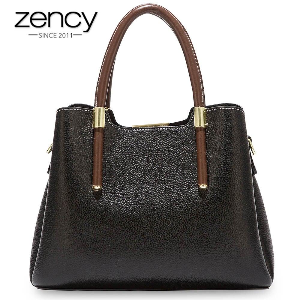 Zency 더 예쁜 색상 핸드백 100% 진짜 암소 가죽 캐주얼 토트 패션 레이디 crossbody 메신저 지갑 비즈니스 가방 브라운-에서탑 핸드백부터 수화물 & 가방 의  그룹 1