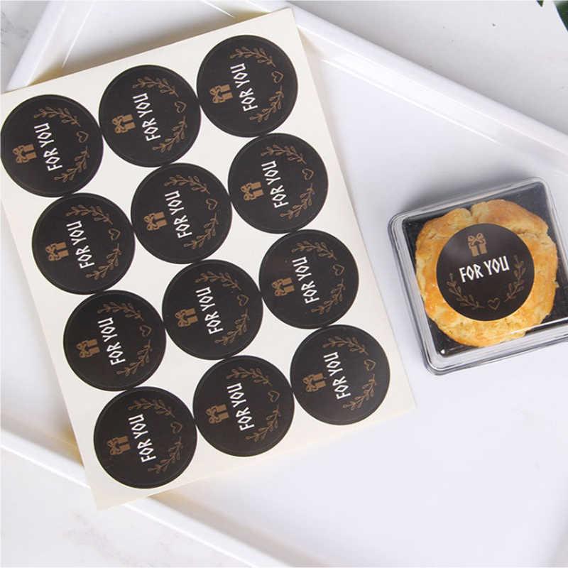 120 teile/los Nette Für sie Dichtung Aufkleber Runde Schwarz Dichtung Aufkleber Mutifunction DIY Dekorative Geschenke Paket Etiketten für Backen
