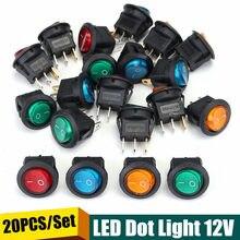 20 sztuk trwałe cztery kolory 12V 3 piny LED Rocker przełącznik SPST światło punktowe samochód Auto okrągły ON/OFF