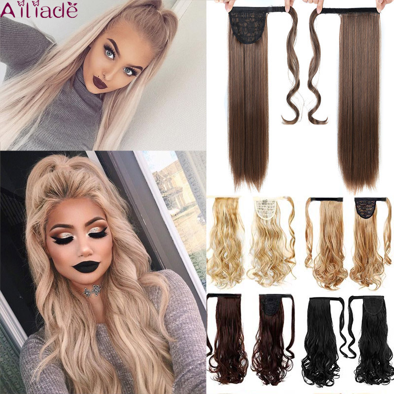 Ailiade 24inch Brown Synthetic Hair Wrap Ponytail Velcro Pony Tail False Clips In Hair Extensions PonytailsTail For Black Women