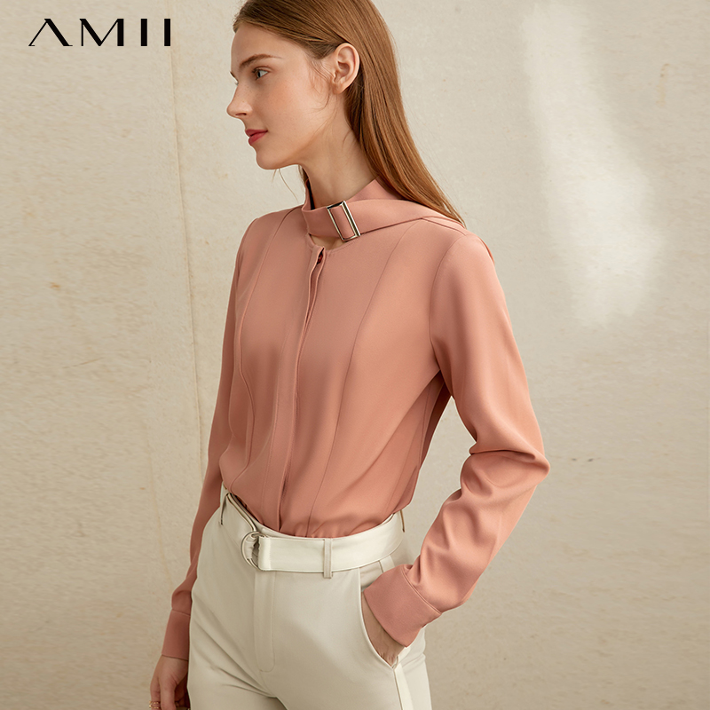 Amii Minimalist Chic Professional Fashion Commuter Shirt Spring New Tie Hidden Front Show Thin Top  11970501