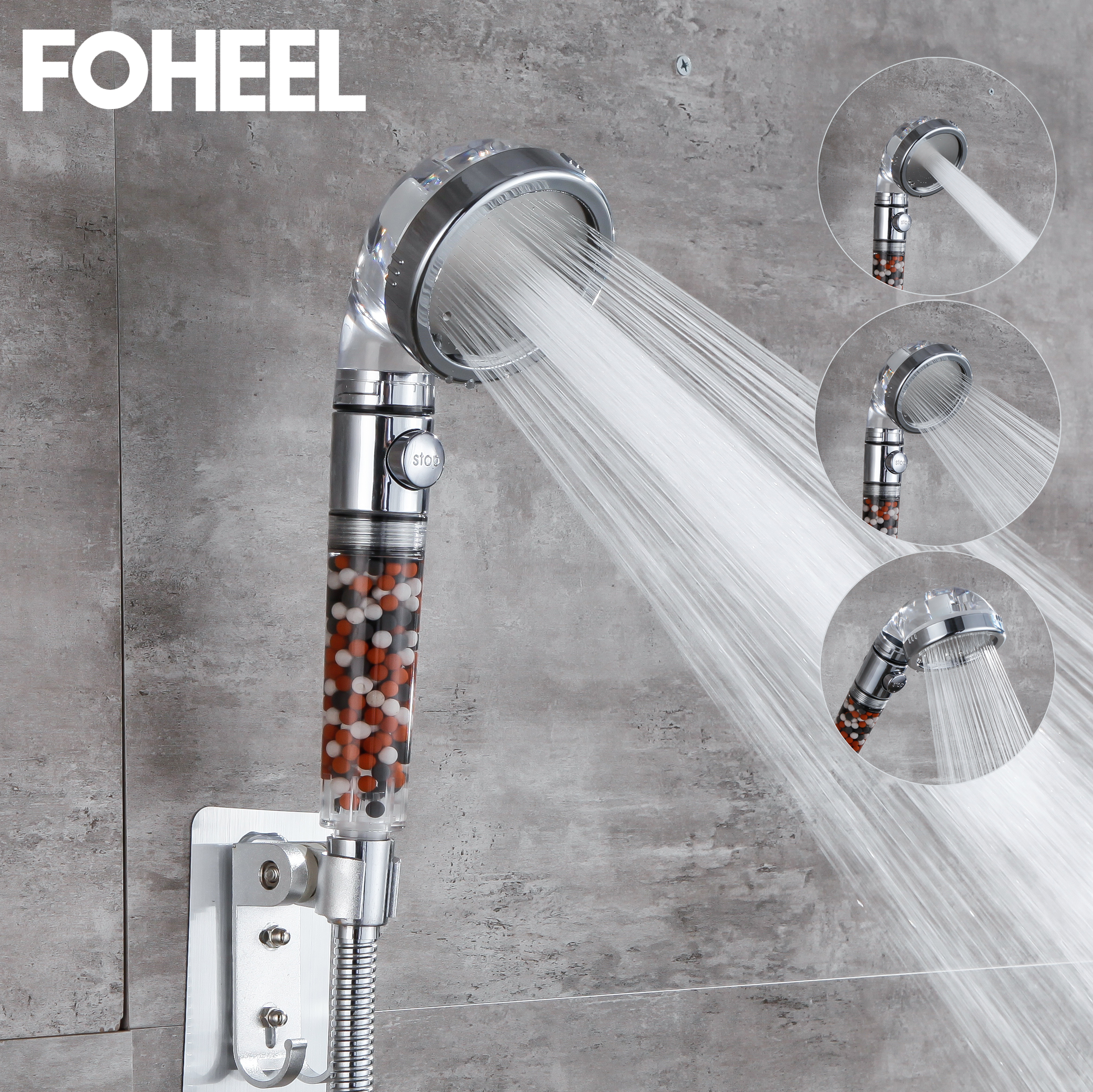 FOHEEL Shower Head Adjustable 3 Mode Shower Head Hand Shower High Pressure Water Saving One Button To Stop Water Shower Heads 1