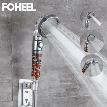 FOHEEL Shower Head Adjustable 3 Mode Shower Head Hand Shower High Pressure Water Saving One Button To Stop Water Shower Heads 1