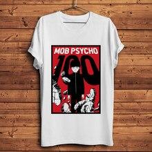 T-shirt homme blanc, humoristique et streetwear, avec dessin animé de Mob Psycho, Saiko Hyaku Otaku, 100