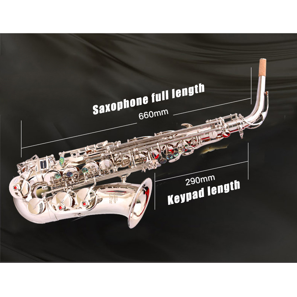 E плоский альт саксофон альт саксофон Никель покрытая серебром Музыкальные инструменты Одежда высшего качества экономически эффективным ... - 2
