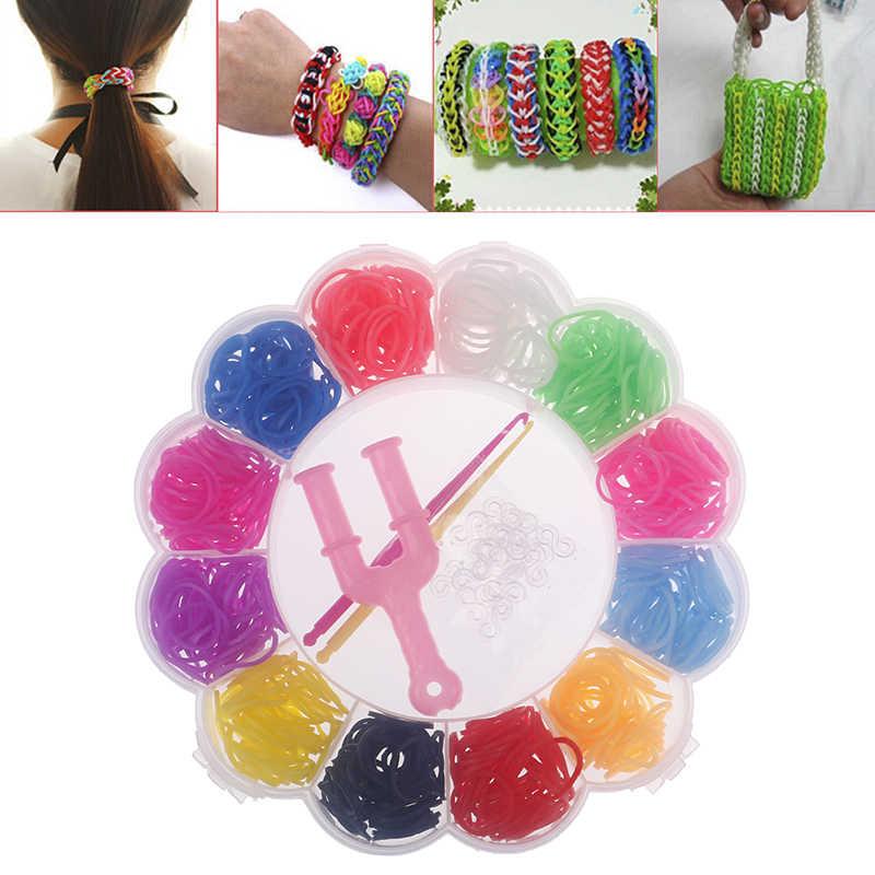 Telar de goma de colores 600 Uds. Tejido elástico, conjunto de pulsera, herramientas DIY, caja, regalo para niñas, juguetes para niños