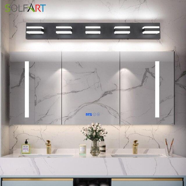Modern Black Bathroom Vanity Lights Over Mirror 4 Lights Acrylic Bath Wall Lighting 3