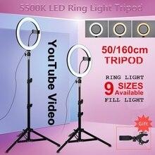 Фотография Youtube светодиодный селфи холодный теплый светильник ing Dimmable светодиодный светильник-кольцо для телефона видео светильник с кольцо для штатива заполняющий светильник