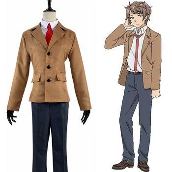 Anime Rascal no sueño con Bunny Girl Senpai Cosplay disfraces Sakuta Azusagawa Cosplay uniforme escolar fiesta de Halloween