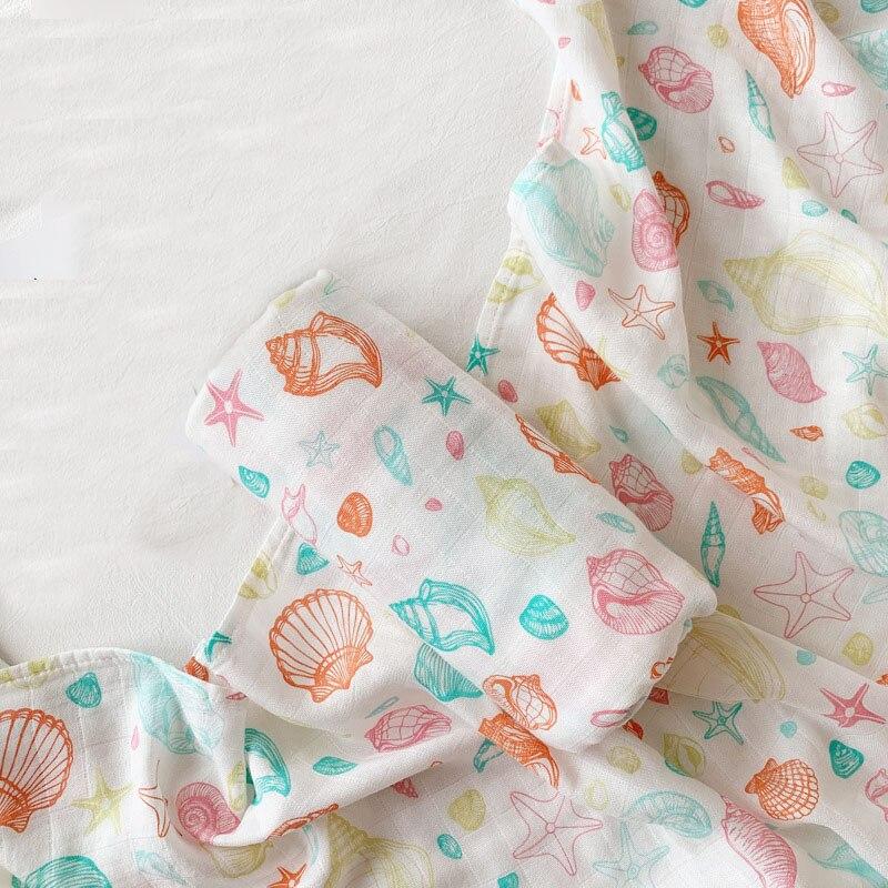Bamboo Cotton Baby Swaddle Multifunctional Baby Muslin Blanket Baby Newborns Blanket Stroller Blanket 120*120cm