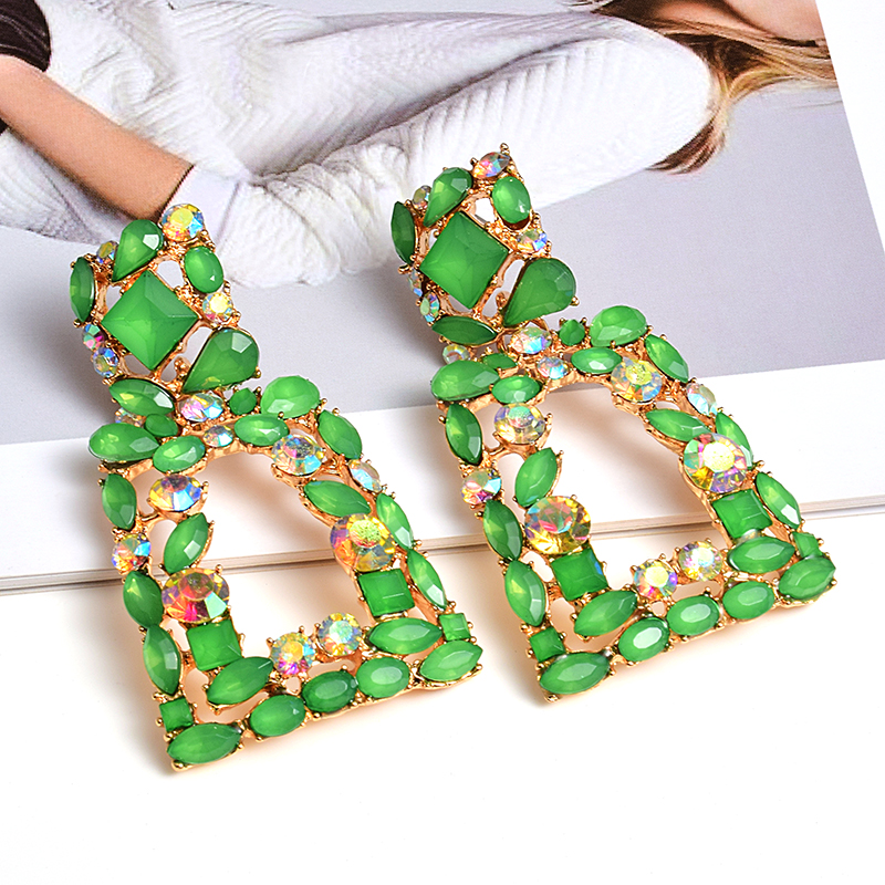 New Fashion Geometric Metal Colorful Rhinestone Drop Earrings High-Quality Clear Crystal Jewelry Accessories For Women Wholesale