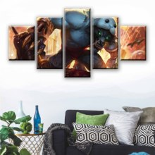Game Pictures 5 Pieces League of Legends Warwick Printed Wall Art Poster Home Decoration For Living Room Canvas Painting Artwork