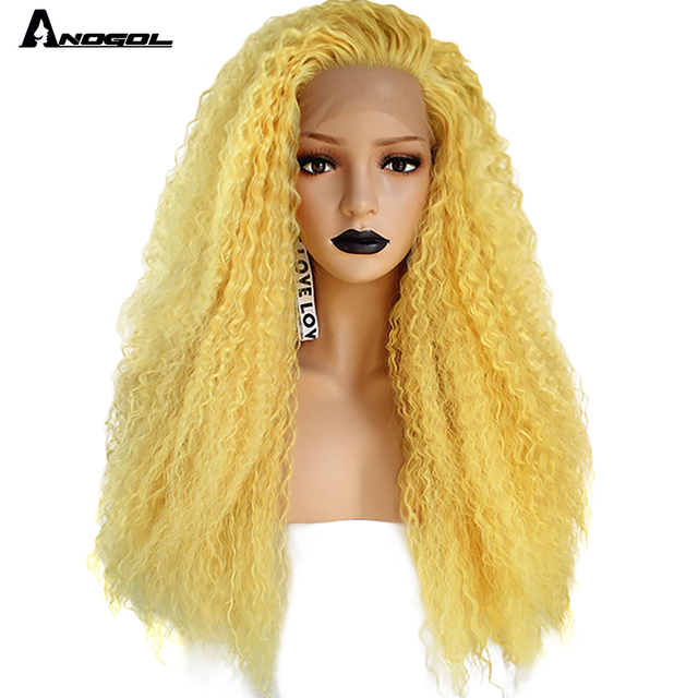 Anogol Yellow Synthetic Lace Front Wig Natural Long Kinky Curly Wig for Women Free Part High Temperature Fiber