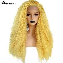 Anogol peluca con malla frontal sintética para mujer, peluca rizada de Largo rizado Natural, fibra de alta temperatura, color amarillo