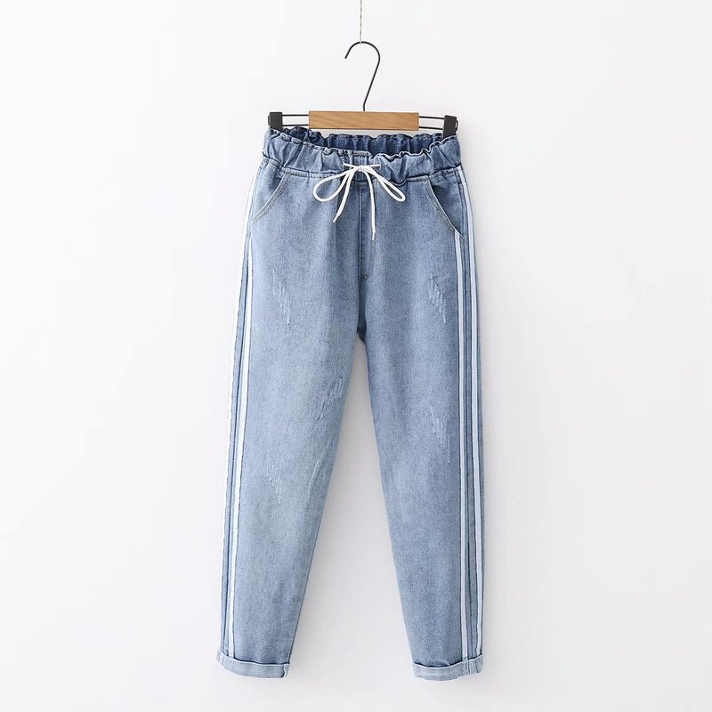 New Women Summer Pants Casual Trousers For Ladies Light Blue Mid Waist Drawstring Loose Flanging Denim Length Jeans