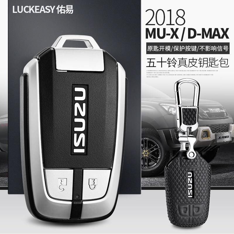 Luckeasy Leather Key Cover For Isuzu Mux D Max 2015 2017 2018 Car Key Case Wallet Holder  Key Holder Key4y