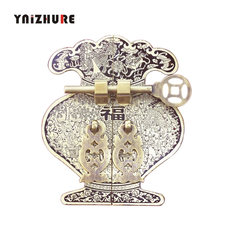 244mm 14mm Chinese Antique Solid Wood Furniture Pure Copper Handle Vase Cabinet Wardrobe Drawer Door Handles Cabinet Knobs