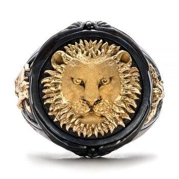 FDLK, anillo negro único a la moda para hombres, joyería de Leones de pastizales africanos, regalo de aniversario del Día del Padre, anillos de banda para fiesta de banquetes
