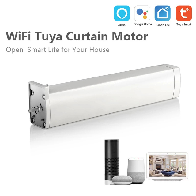45W 240V WIFI Electric Curtain Motor Tuya Smart App Remote Control Vioce Work With Alexa Google Home Family Intelligence System