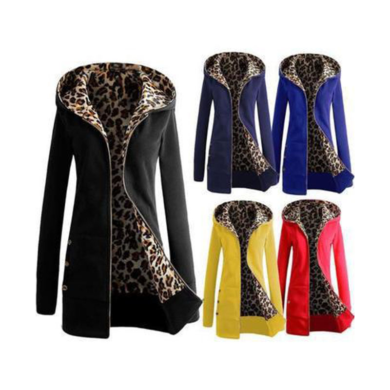 Women's Autumn Winter Long Sleeve Leopard Hooded Jacket Coat 2019 Fashion Clothing Plus Size 6xl Windbreaker Cardigans Black Red